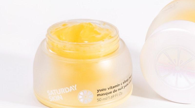 Saturday Skin's Yuzu Vitamin C Sleep Mask in jar.