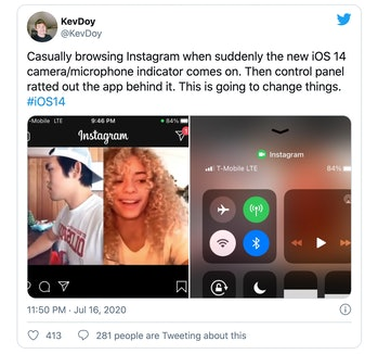 A screenshot of a Twitter post alleging Instagram accesses the camera in iOS 14 even when not in use.