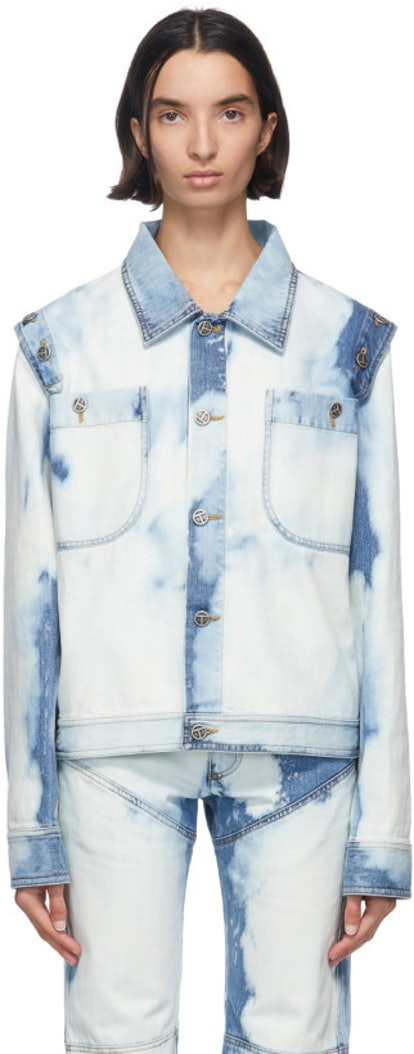 Blue Bleach Denim Detachable Jacket
