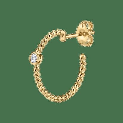 Diamond Medium Twist Hoop Earring