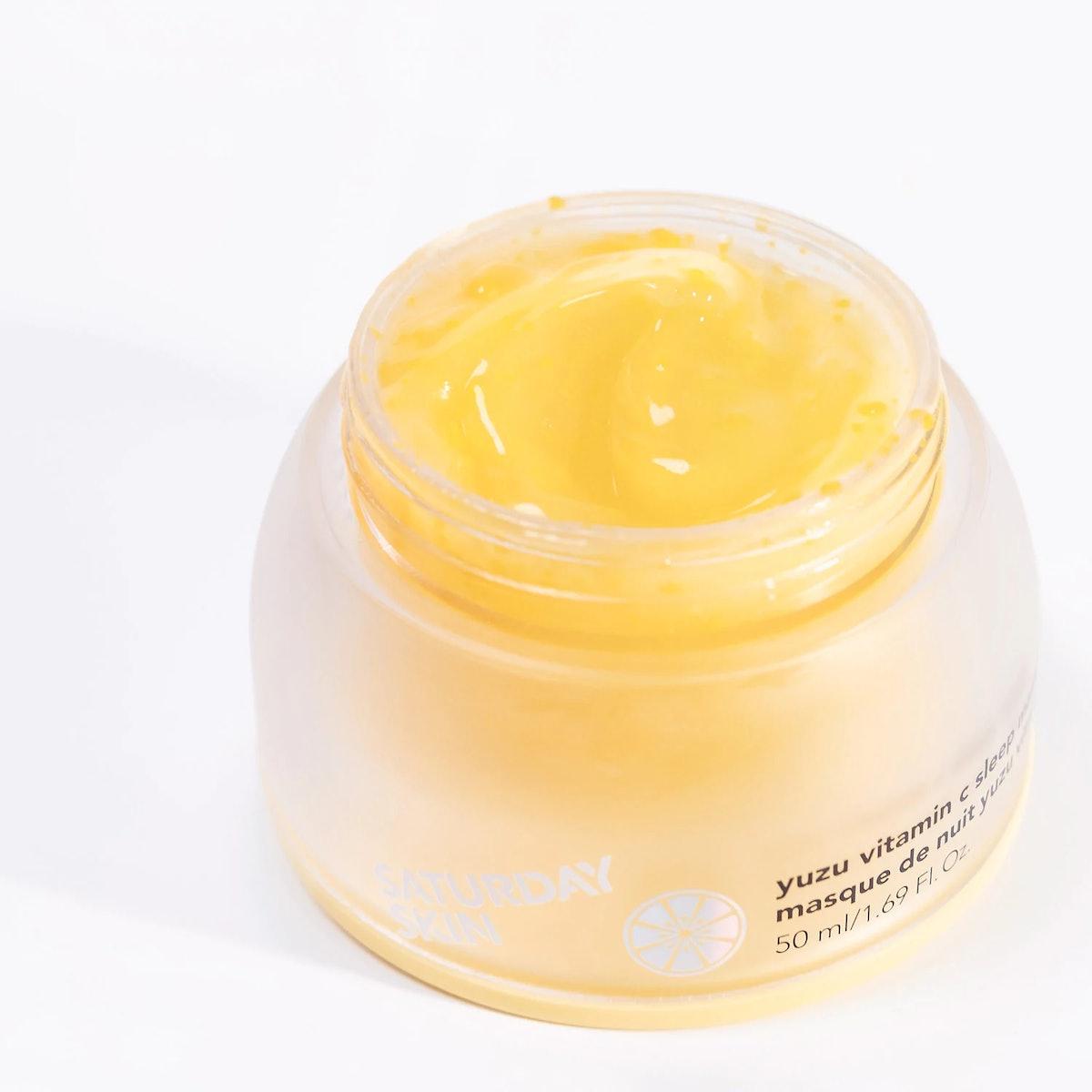 Saturday Skin's Yuzu Vitamin C Sleep Mask texture in jar.