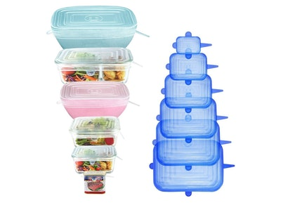 Longzon Rectangular Silicone Stretch Lids (12-Pack)