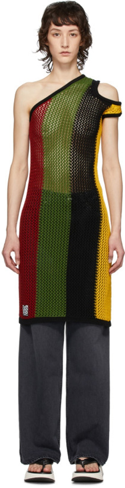 Multicolor Asymmetric Tank Tunic Dress