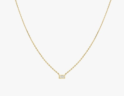 Baguette Diamond Bezel Necklace