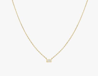 Baguette Diamond Bezel Necklace