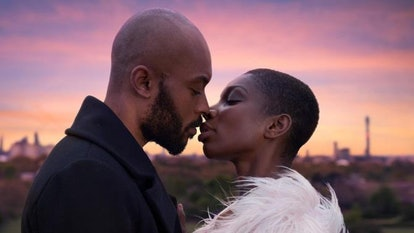 Arinzé Kene and Michaela Coel kiss in a still from Been So Long