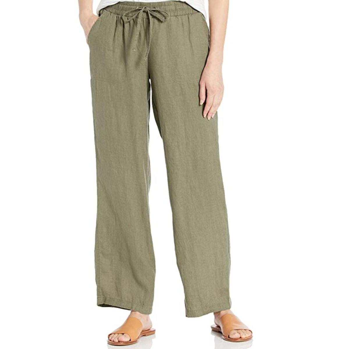 Amazon Essentials Drawstring Linen Wide Leg Pant