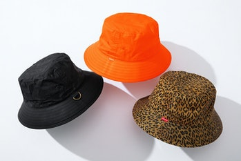 Different colorways of Supreme's new bucket hats.