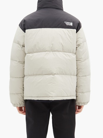 A puffer jacket from Vetements seen from behind.