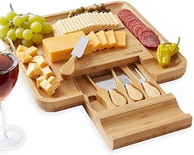 Casafield Bamboo Cheese Cutting Board & Knife Gift Set