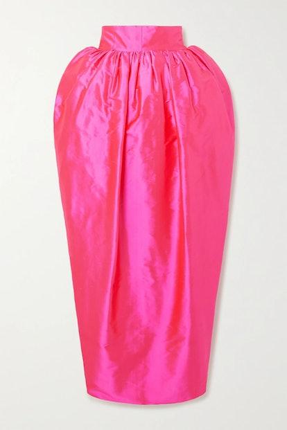 Draped Silk-Taffeta Midi Skirt