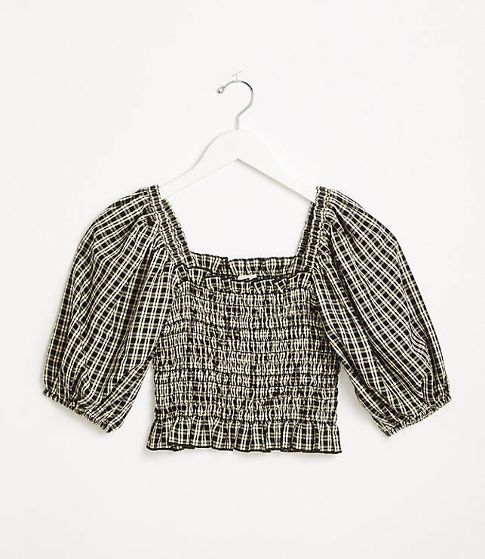 Plaid Smocked Cropped Top