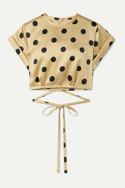 Le Club Cropped Polka-Dot Satin Top