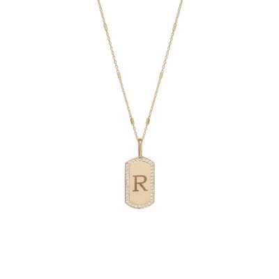 14k Pave Diamond X-Small Engraved Dog Tag Necklace