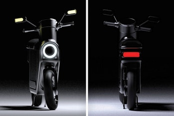 Front and rear views of a black scooter.