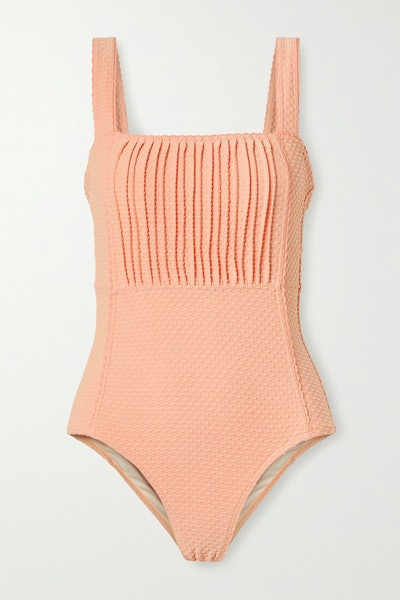 Pintucked Swiss-Dot Stretch Swimsuit