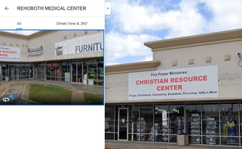 """A screenshot of Google Maps showing a sign that says """"Christian Resource Center"""""""