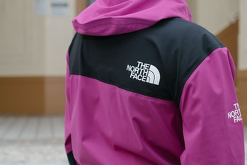 A close-up of the back of a jacket.
