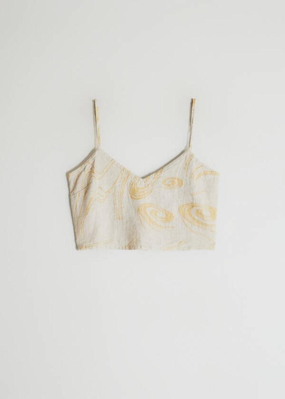 Palma Printed Crop Top in Ecru