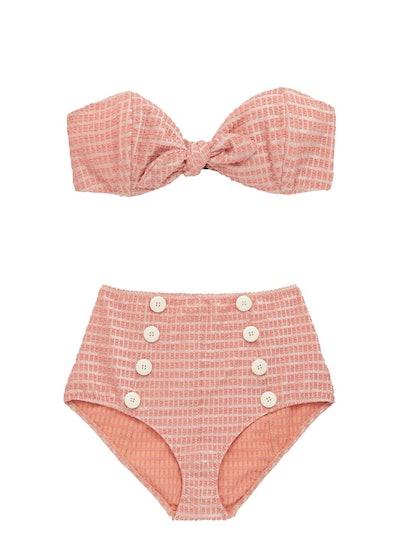 Poppy Metallic-Jacquard Strapless High-Rise Bikini