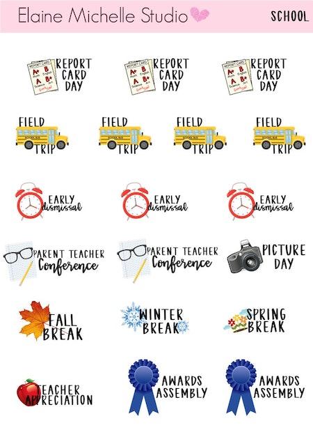 Back To School Planner Stickers, Elaine Michelle Studio
