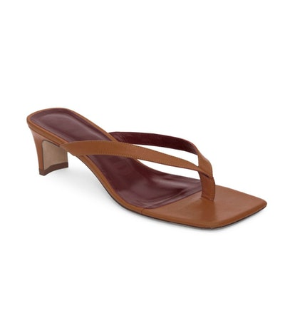 Audrey Square-Toe Leather Thong Sandals