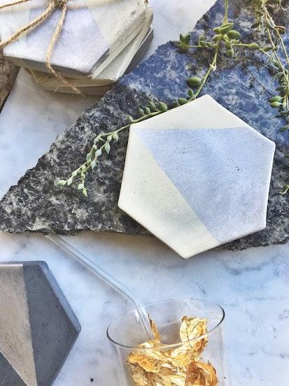Hexagon Concrete Coaster With Silver (Set of Four)