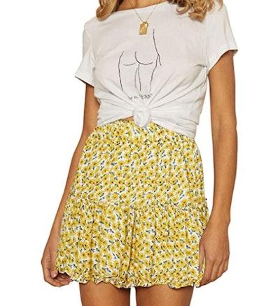 ZESICA Women's Summer Bohemian Floral Printed High Waist Mini Skirt