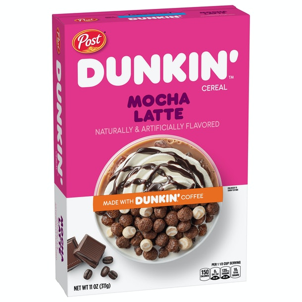 Dunkin' and Post's new coffee-flavored cereals include two offerings.