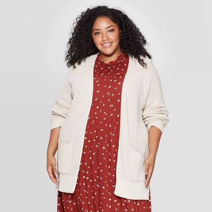 Universal Thread Women's Plus Size Long Sleeve Side Slit Open Layered Cardigan