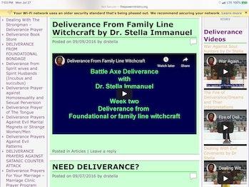 Screenshot of Dr. Immanuel's website.