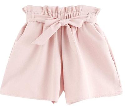 Milumia Women's Casual Tie Waist Frill Trim Shorts
