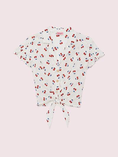 Cherry Toss Tie-Front Top