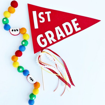 First Day Of School Pennant Flag, Glitter Party Co