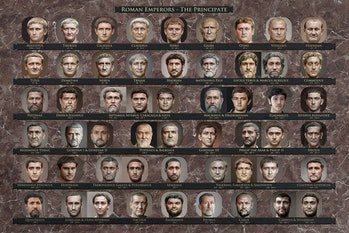 A chart depicting 54 Roman emperors during the Principate period, including Augustus, Nero, Caligula, Tiberius, Thrax, and more. The background of the chart is brown and each ruler's name is stated below their neural net-rendered photo.