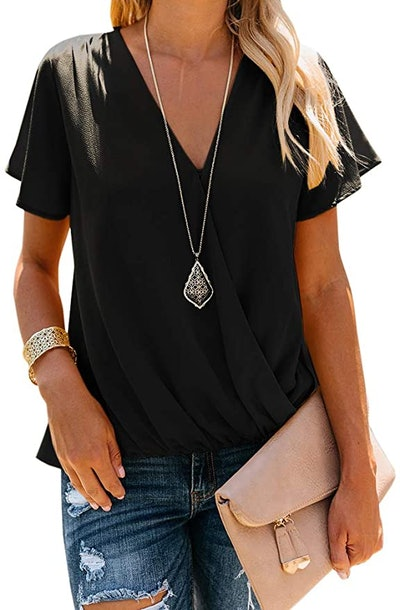 Daomumen Women's V Neck Chiffon Top