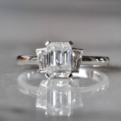 Emerald Cut Salt and Pepper Diamond Ring with Tapered Baguette Diamonds