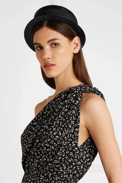 Cotton-faille trimmed coated faux raffia hat