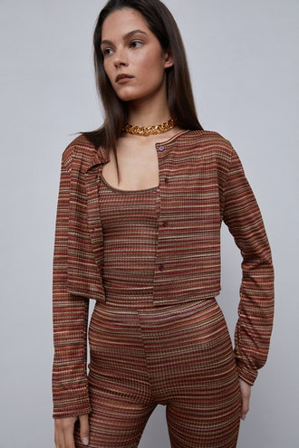 Multi-Color Cropped Knit Cardigan