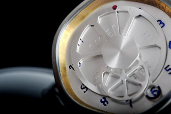 Close-up of a watch face.