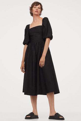 Puff-Sleeved Cotton Dress