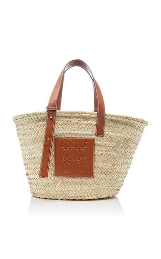 Leather-Trimmed Woven Raffia Medium Basket Bag