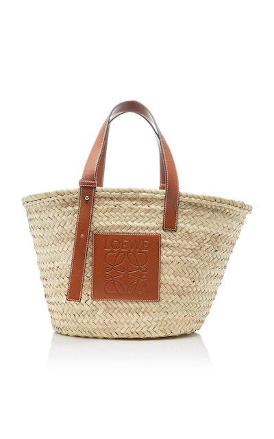 Leather-Trimmed Woven Raffia Medium Basket Bag