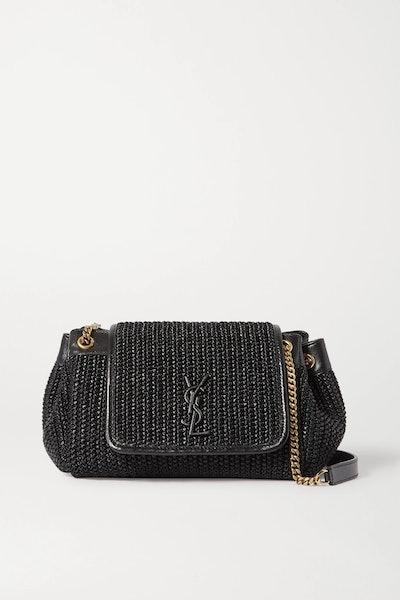 Nolita small raffia and leather shoulder bag
