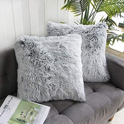 Uhomy Faux Fur Throw Pillow Covers (2-Pack)