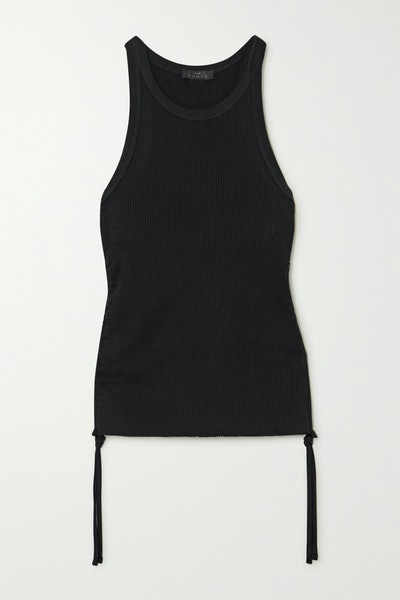 Gathered Waffle-Knit Stretch-Cotton Tank