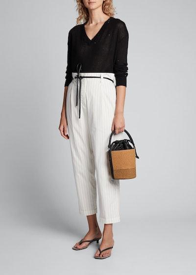 Raffia Leather Top-Handle Bucket Bag