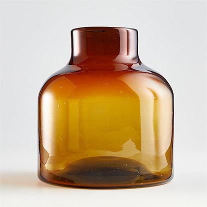 Poe Large Amber Glass Vase