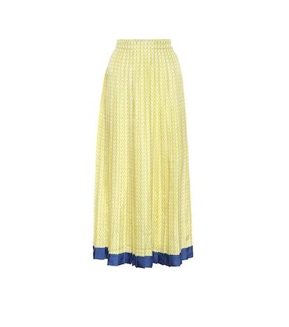 Printed Silk-Twill Midi Skirt