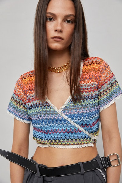 Rainbow Cropped Tie Knit Top